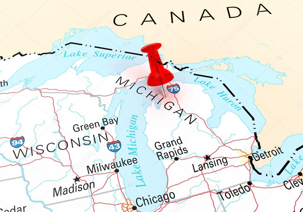 Red Thumbtack Over Michigan State USA Map Stock Photo klenger