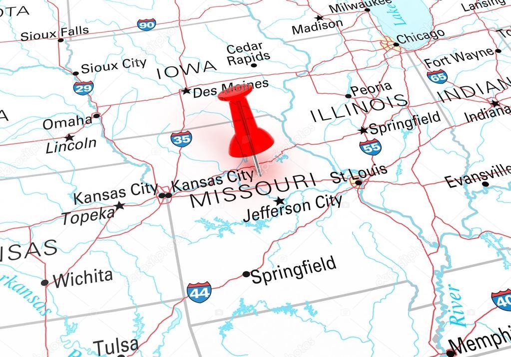Red Thumbtack Over Missouri State USA Map Stock Photo klenger