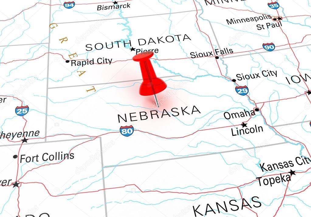 Red Thumbtack Over Nebraska State Usa Map Stock Photo C Klenger