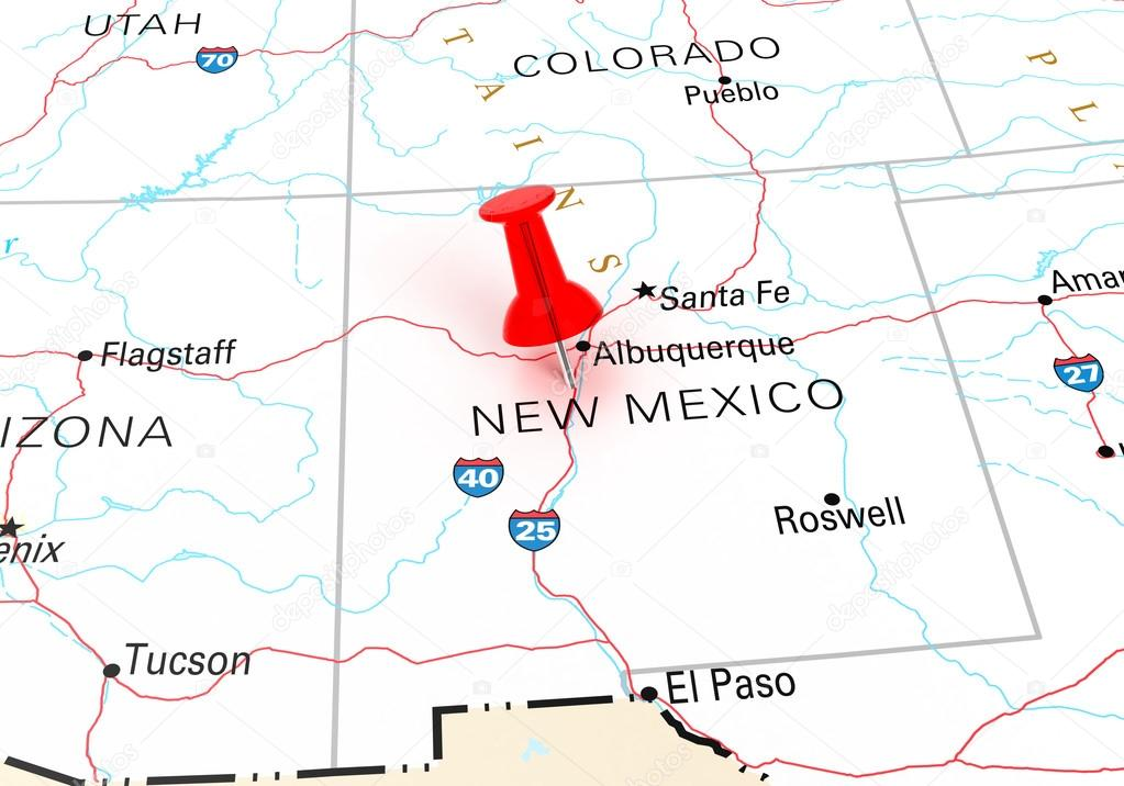 Red Thumbtack Over New Mexico State Usa Map Stock Photo
