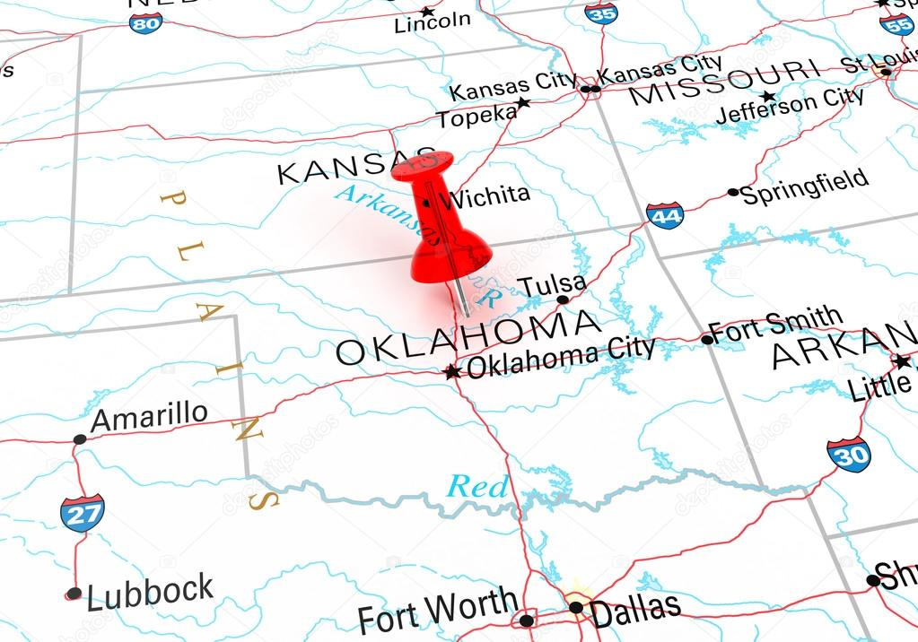 Red Thumbtack Over Oklahoma State USA Map. — Stock Photo © klenger on map of kansas by regions, map of kansas towns and cities, map of hawaii, map arkansas oklahoma, map of kansas and missouri, map of kansas state, map of kansas nebraska, kansas oklahoma to tulsa oklahoma, map of kansas indian reservations, map of kansas lenexa, map of south dakota, map nebraska oklahoma,