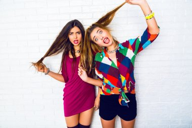girls making crazy funny faces