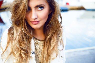 sensual blonde woman with long hair