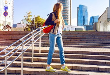 young woman traveling with backpack