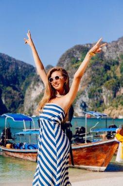 Happy girl enjoy her vacation
