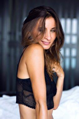 beautiful shy brunette sexy woman