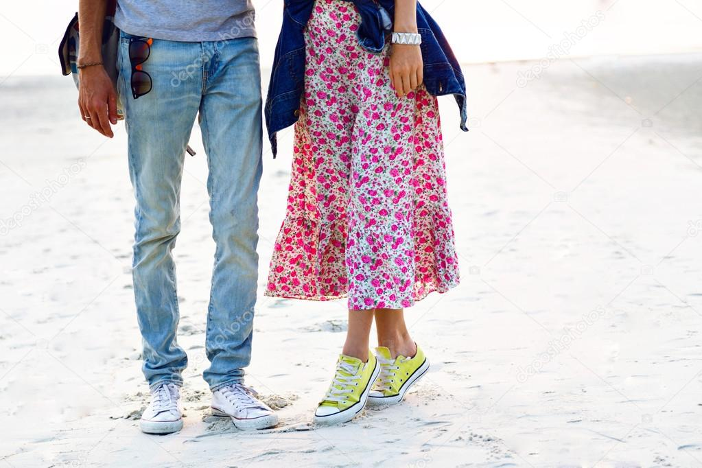 summer portrait of hipster couple