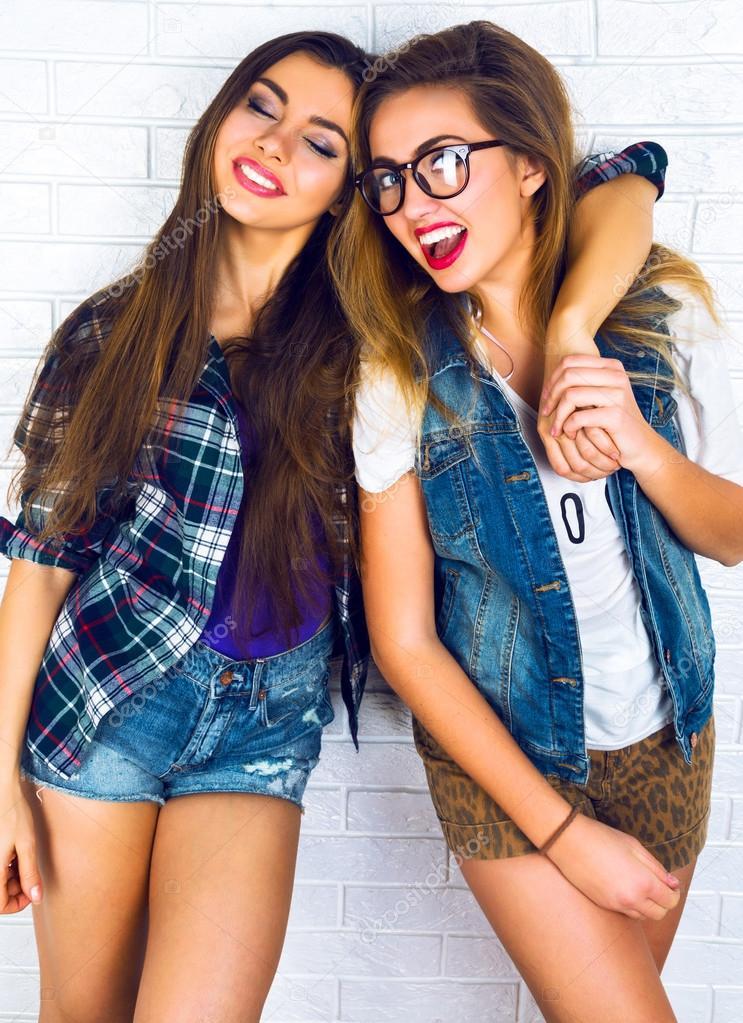 Two Best Friend Girls Hugs Stock Photo C Annharitonenko 75376663