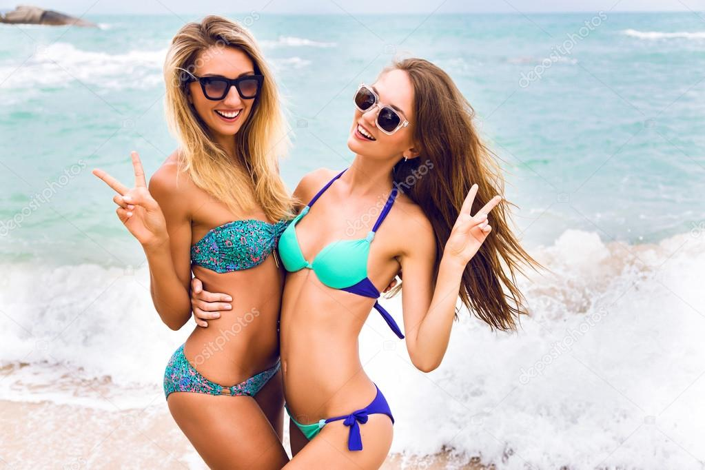 Two girls in island paradise