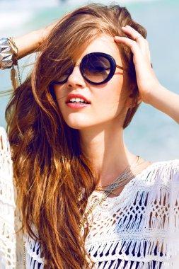 woman wearing vintage sunglasses