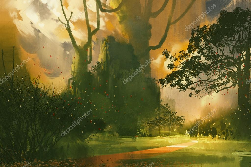 landscape painting,mountain,giant trees