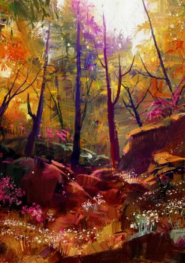 beautiful autumn forest with sunlight