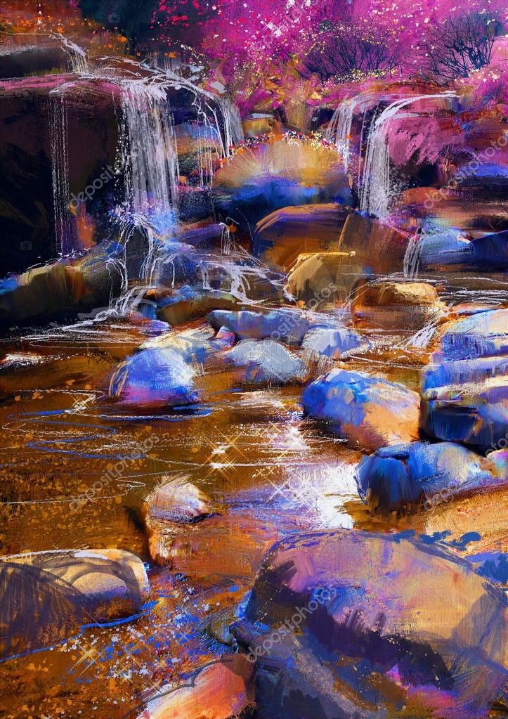 beautiful river amongst colorful stones,waterfall