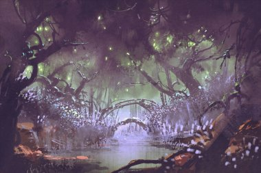 enchanted forest,fantasy landscape