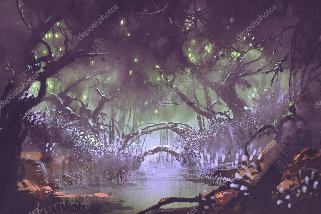 enchanted forest,fantasy landscape