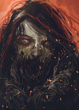zombie face,horror portrait