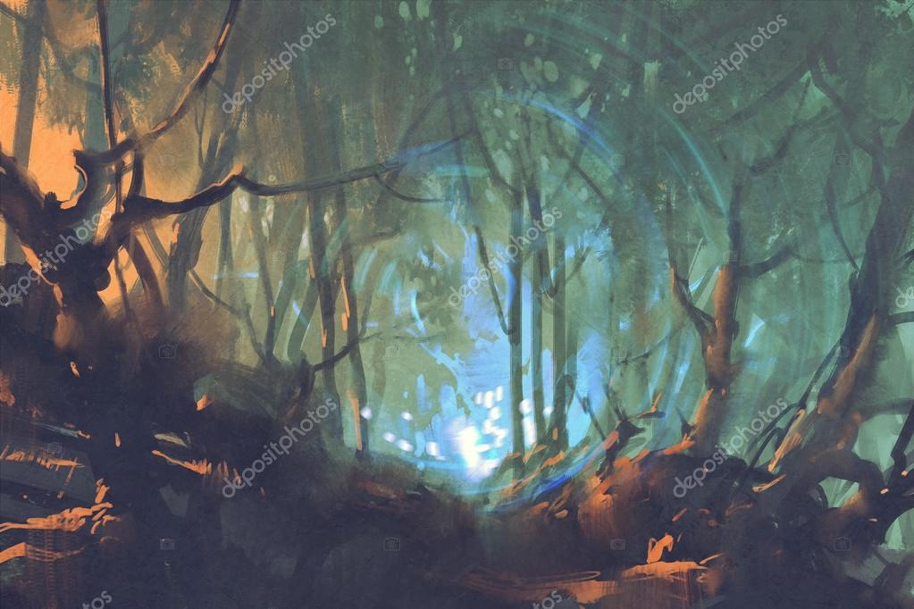 dark forest with mystic light