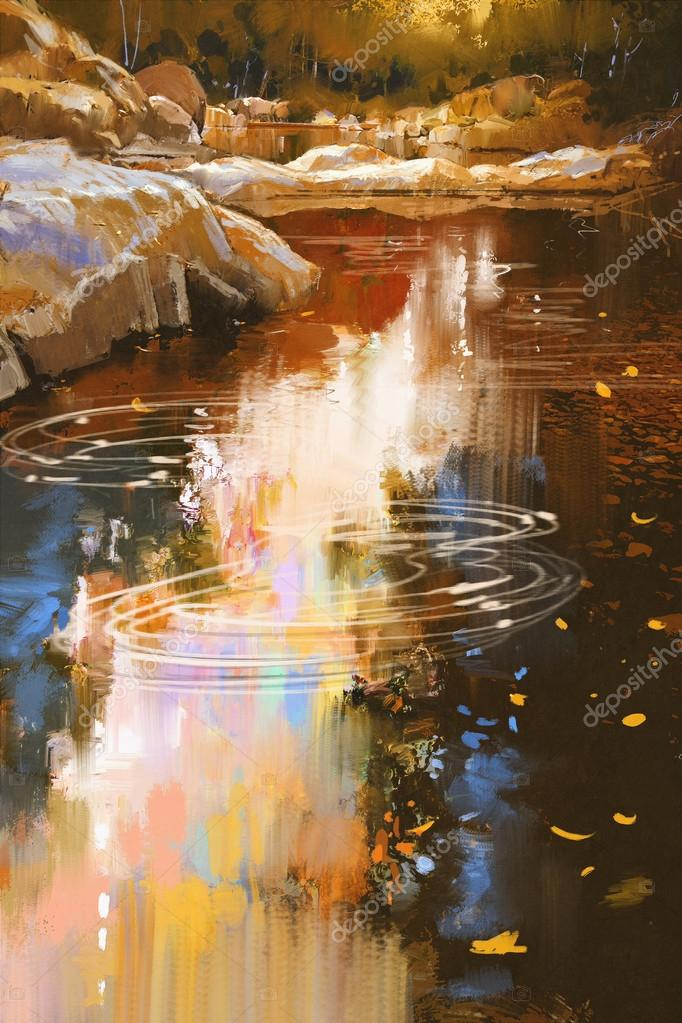 river lines with stones in autumn forest