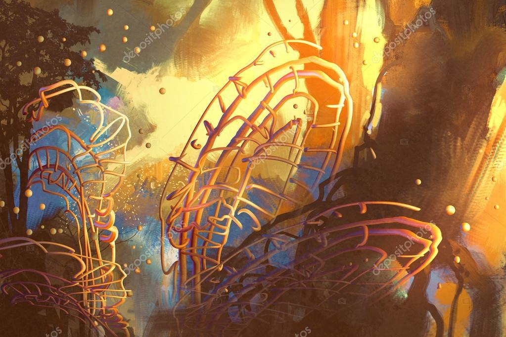 bosque de fantasía con árboles abstractos — Foto de stock ... 3280272f7a334