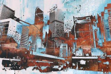 "Картина, постер, плакат, фотообои ""небоскреб с абстрактными гранж"", артикул 106721796"
