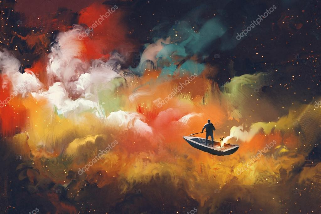 man on a boat in the outer space