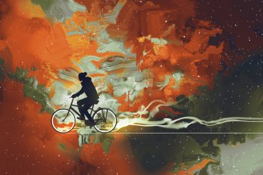 Silhouettes of man on bicycle in universe filled