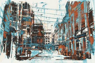 urban street with grunge texture