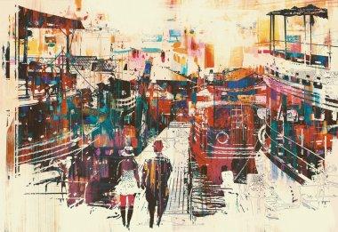 "Картина, постер, плакат, фотообои ""пара прогуливаясь по пристани с красочными лодками "", артикул 108229416"
