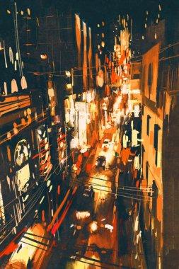 Night scene of a street in city