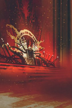 dark fantasy throne with red curtains background