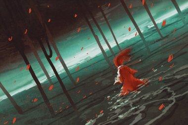 woman in red walking on swamp lake