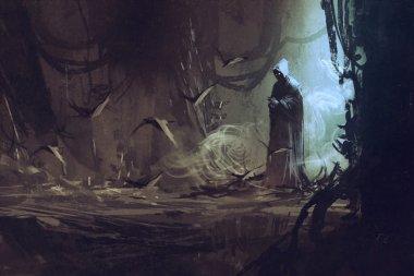 dark cloak in mysterious forest,wizard