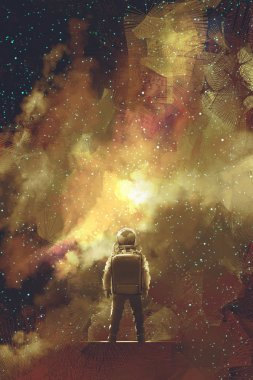 astronaut standing against universe stars field