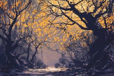 "Картина, постер, плакат, фотообои ""ночной пейзаж осеннего леса натюрморт картина пейзаж живопись заказ закат"", артикул 113969900"