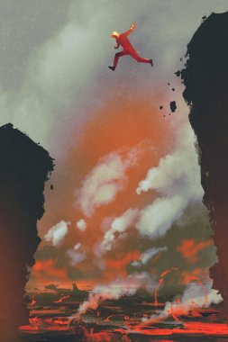 man jumping on the cliff against lava landscape background