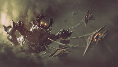 battle between spaceships and monster