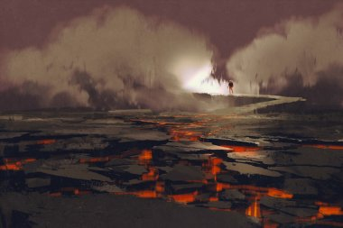 cracks in the ground with magma