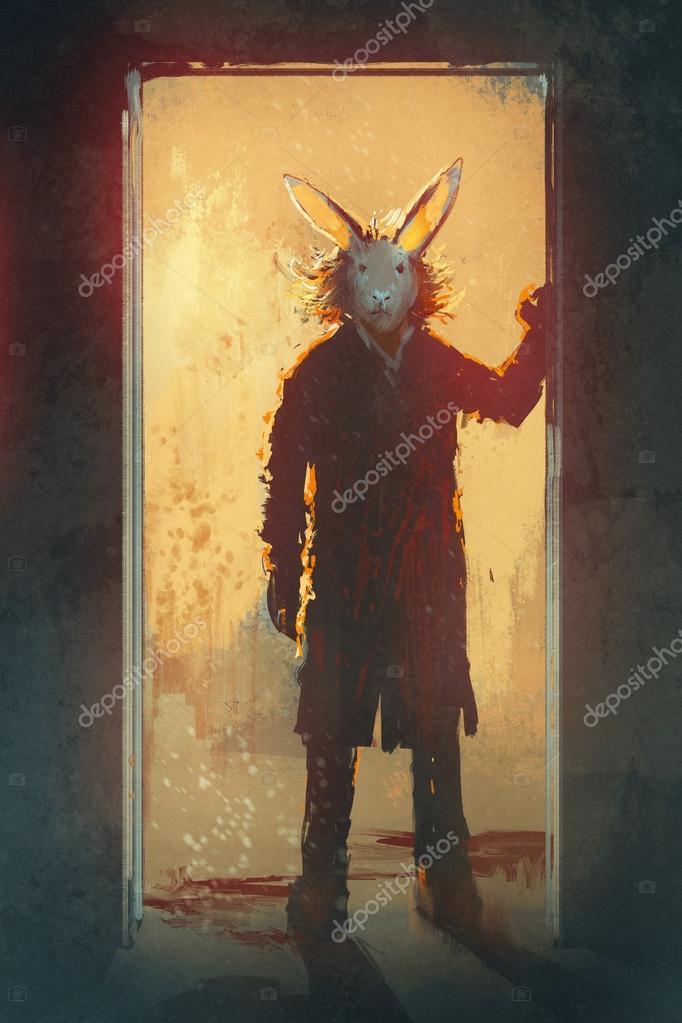 Tavşan Maskesi Ayakta Kapıdaki Adamla Stok Foto Grandfailure
