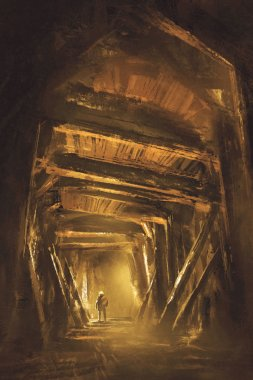 inside of the mine shaft