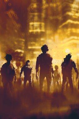 zombie crowd walking in city
