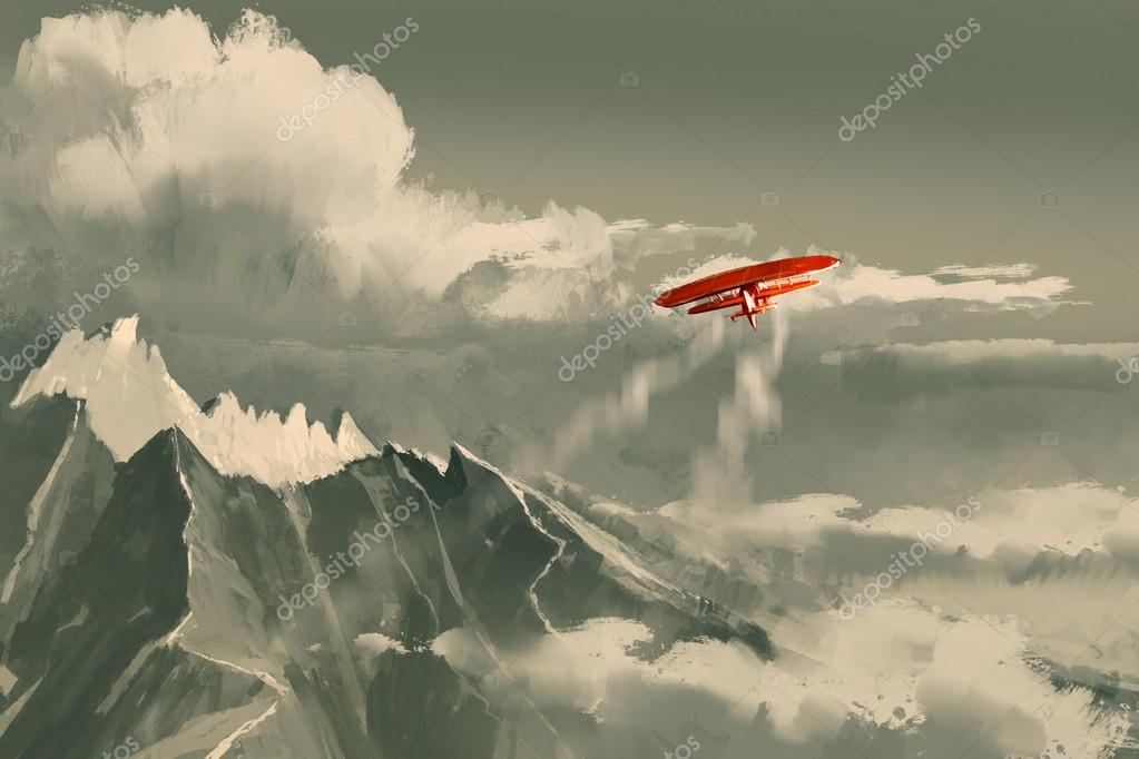 biplane flying over mountain,illustration