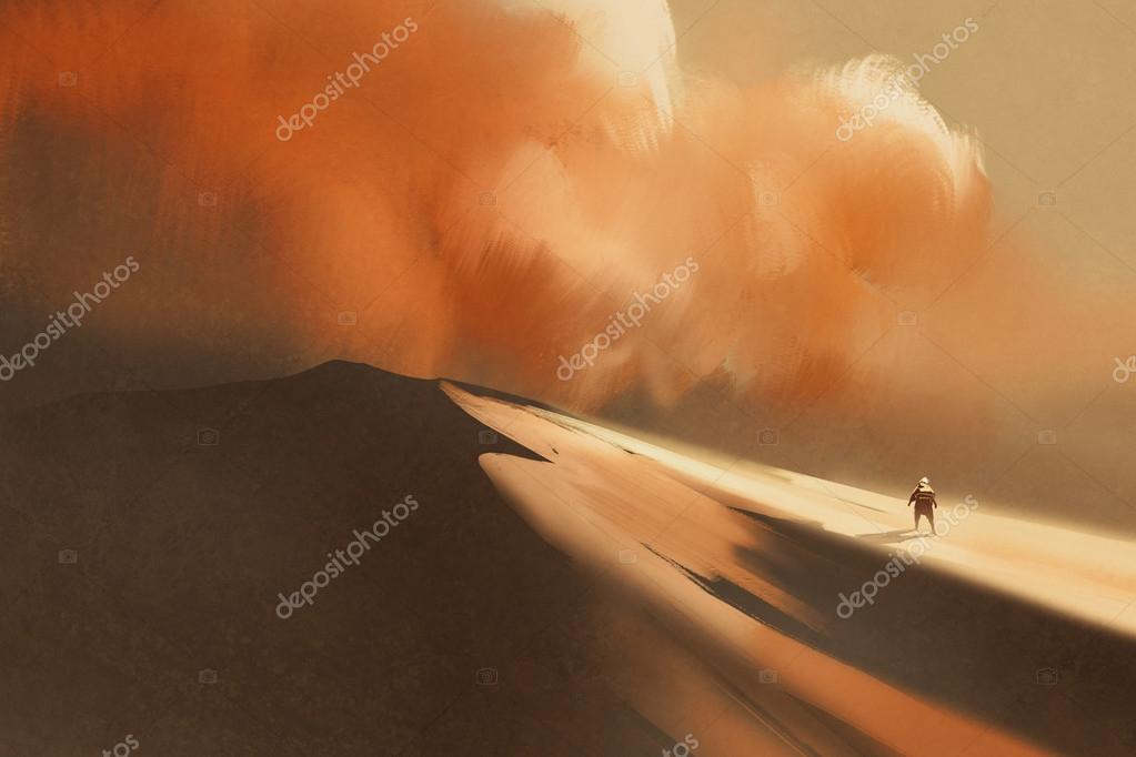 sandstorm in desert,illustration