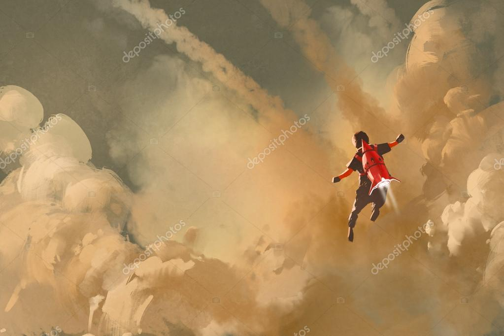 boy flying in the cloudy sky