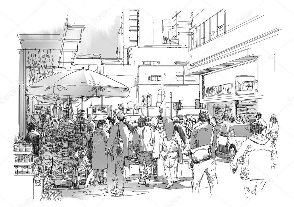 78ed1e8d6c30c9 Menschenmenge in kommerziellen und belebten Straße — Stockfoto ...