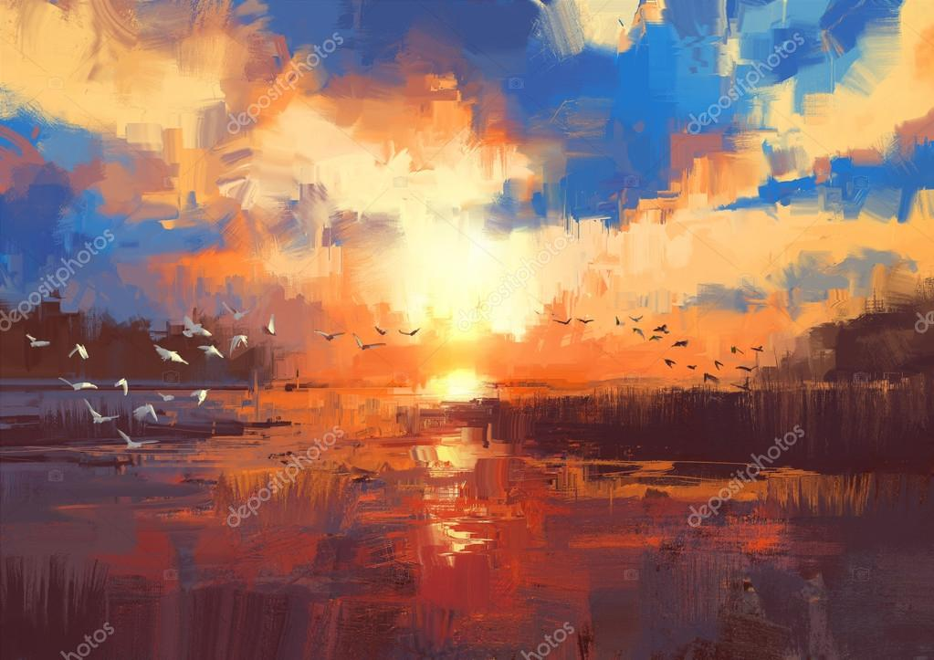 sunset on the lake,illustration