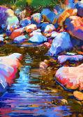 řeka mezi barevné kameny, digitální malba