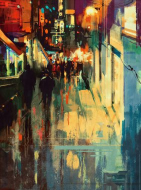 painting of colorful alley at night