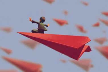 man sitting on red airplane paper in the sky