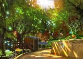 chodník v zeleném parku se slunečním