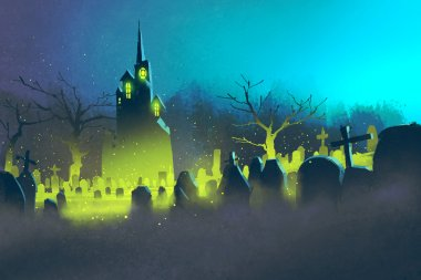 spooky castle,Halloween concept,cemetery at night